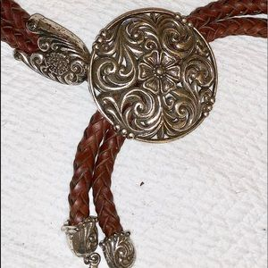 Braided leather adjustable belt